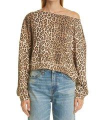 women's r13 patti leopard print asymmetric off the shoulder sweatshirt, size large - brown