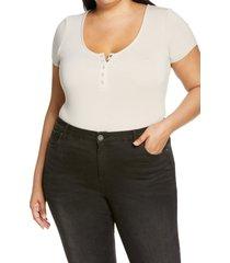 plus size women's bp. henley bodysuit, size 1x - beige