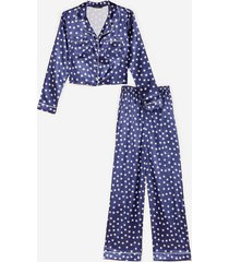 womens star-t the party satin pants pajama set - navy