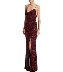 diana embellished cowlneck gown