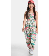 long hawaiian jumpsuit with straps - red - 13/14