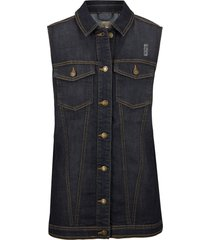 gilet di jeans con inserti a costine (nero) - bpc bonprix collection