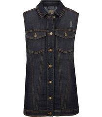 gilet di jeans con inserti a costine (nero) - bpc bonprix collection