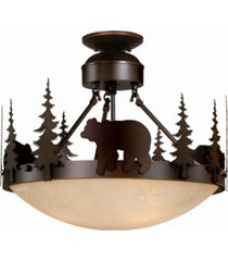 vaxcel bozeman amber glass rustic bear semi-flush mount light or pendant