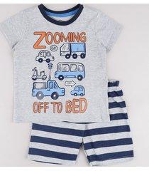 "pijama infantil carros ""zooming off to bed"" manga curta cinza mescla"