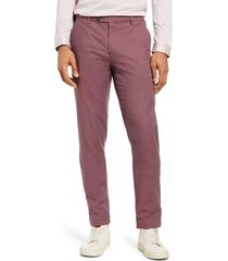 men's ted baker london penguin slim fit classic dress pants, size 38 - burgundy