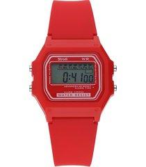 orologio digitale con cinturino rosso in policarbonato per uomo