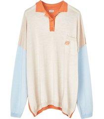 oversize polo neck sweatshirt orange, light blue, beige