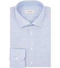 camicia da uomo su misura, albini, cotone pinpoint azzurro, quattro stagioni | lanieri