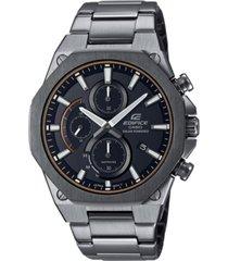 g-shock men's solar edifice slim gunmetal stainless steel bracelet watch 49mm