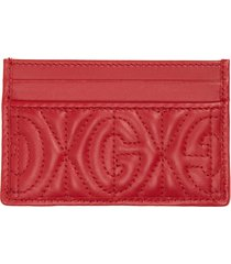 men's gucci gg rhombus quilted leather card case - red