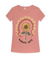 lez a lez - t-shirt estampada radiate love rosa havane