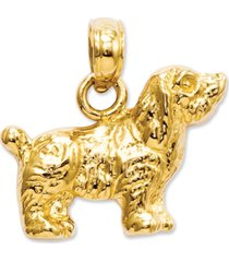14k gold charm, cocker spaniel dog charm
