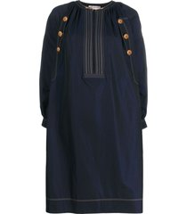givenchy button details poplin dress - blue