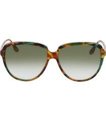 victoria beckham 60mm gradient round sunglasses in blonde havana/khaki gradient at nordstrom