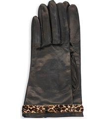 portolano women's calf hair leopard-print bow leather gloves - black leopard - size 6.5
