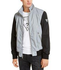 guess men's luis colorblocked reflective jacket