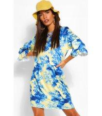 tie dye gesmokte t-shirtjurk met driekwartsmouwen, blauw