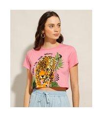 camiseta cropped de algodão onça manga curta decote redondo rosa