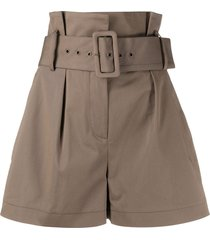 ba & sh belted tailored shorts - neutrals