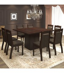 mesa de jantar 8 lugares voal ameixa/chocolate - mobilarte móveis