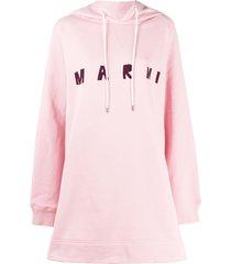 marni logo print long hoodie - pink
