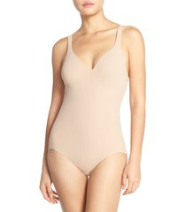 women's wacoal try a little slenderness shaping bodysuit, size 34c - beige