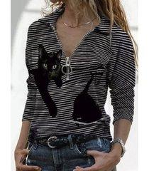 camicetta a maniche lunghe con cerniera e colletto con risvolto stampato gatto a strisce dei cartoni animati