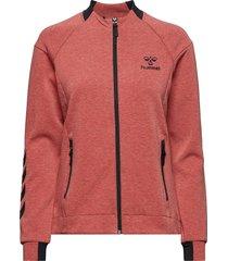 hmlclio zip jacket sweat-shirt tröja röd hummel