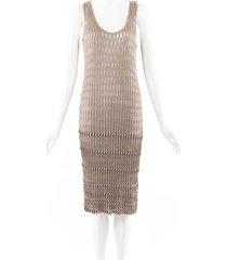 missoni sheer stretch knit midi dress beige sz: s