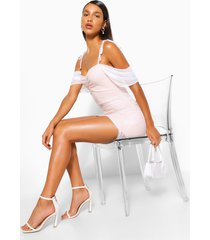 angel sleeve gathered mini dress, ivory