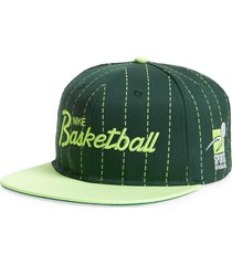 nike pro sports specialities script embroidered ball cap in noble green/lime glow at nordstrom