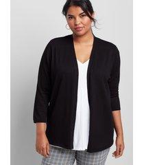 lane bryant women's open-front cardigan - 3/4 sleeves 10/12 black