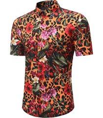 camicia hawaiana estiva da uomo a maniche corte con stampa floreale