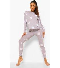petite hartjes pyjama set met broek, grey