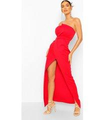 strapless maxi wikkel jurk met split, red