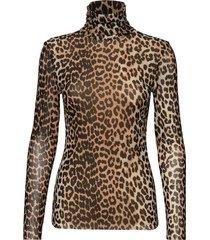 printed mesh blouse lange mouwen bruin ganni