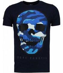 t-shirt korte mouw local fanatic army skull - rhinestone t-shirt -