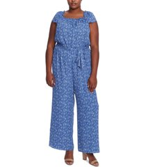 cece plus size printed square-neck jumpsuit