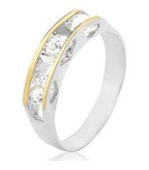 anel trio zirconia filete ouro pratamil joias feminino - feminino
