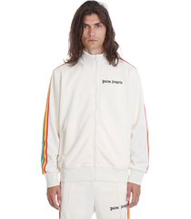 palm angels rainbow track sweatshirt in white polyester
