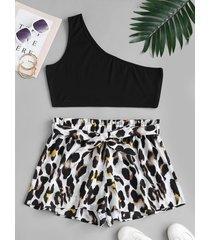 plus size solid one shoulder top and leopard paperbag shorts set