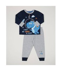 pijama infantil dinossauro manga longa azul marinho