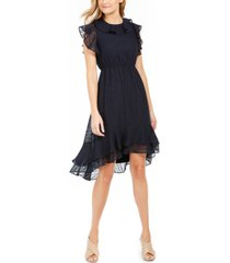 calvin klein textured ruffled high-low a-line dress