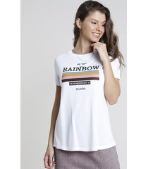 "blusa feminina ""be the rainbow"" manga curta decote redondo branca"
