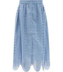 colette broderie-anglaise linen midi skirt
