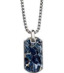 'streamline' pietersite silver dog tag pendant