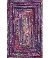 nuloom nomad hand braided tammara cotton blue 4' x 6' area rug