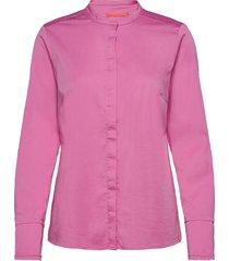 feminine fit shirt w. plisse grosgr långärmad skjorta rosa coster copenhagen