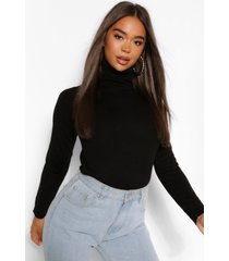 basic roll neck sweater, black